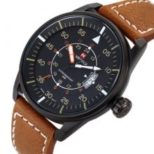 Men's Casual Wristwatch with Leather Band and Box