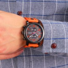 Cute Casual Quartz Men's Watch with Genuine Leather Strap